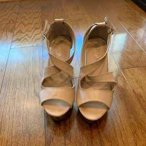 7.5 Taupe wedges. Like new. Maybe worn 2 times.